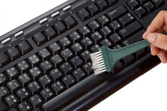 Cleaning old keyboard Stock Image