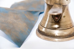Cleaning old turkish copper pot Royalty Free Stock Photography