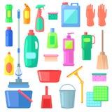 cleaning Olika symboler av lokalvårdmedelsorter Fotografering för Bildbyråer