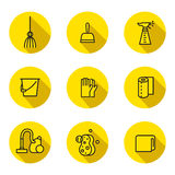Cleaning outline black and yellow vector circle icons set. Minimalistic design. Part two. Royalty Free Stock Photos