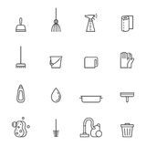 Cleaning outline gray vector icons set. Modern minimalistic design. Royalty Free Stock Photo