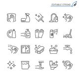 Cleaning outline icon set. Editable stroke. Pixel perfect. Easy to resize stock illustration