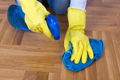 Cleaning parquet Royalty Free Stock Images