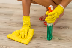 Cleaning parquet Royalty Free Stock Photos