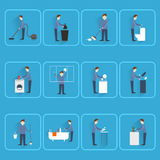 Cleaning people flat icons Stock Image