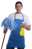 Cleaning person service cleaner man job occupation young isolate Stock Photos