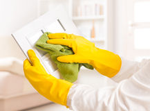 Cleaning photo frame Stock Photos