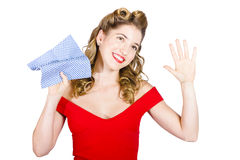 Cleaning pin up maid holding washer rag on white Stock Images