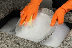 Cleaning a plate Stock Image