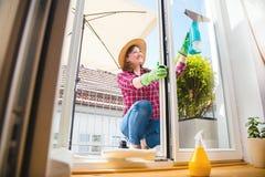 cleaning pojęcia dishwashing ciecza gąbki Młodej kobiety płuczkowy okno, zakończenie w górę fotografia stock