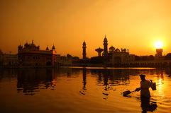Cleaning the pool of the Golden Temple, India Royalty Free Stock Image