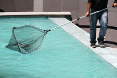 Cleaning the pool Royalty Free Stock Images