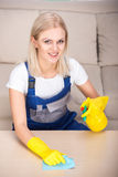 Cleaning. Portrait of woman is doing some cleaning work in the house stock images