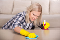 Cleaning. Portrait of woman is doing some cleaning work in the house stock image
