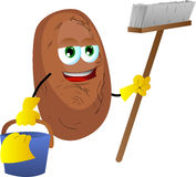 Cleaning potato Stock Photo