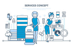 Cleaning of premises, dry cleaning, laundry of things and linen. Services concept. Cleaning of premises, dry cleaning, laundry of things and linen. Illustration Stock Photography