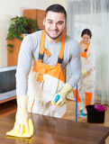 Cleaning premises team to work Royalty Free Stock Photography