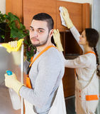 Cleaning premises team to work. Portrait of cleaning premises team is ready to work Stock Photos