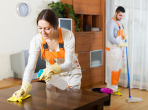 Cleaning premises team to work Stock Photos