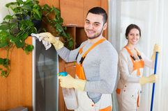 Cleaning premises team to work Royalty Free Stock Photo