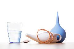 Cleaning procedures for the body. Nasal irrigation with salty water and rubber catheter Stock Image