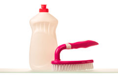 Cleaning product and brush Royalty Free Stock Photos