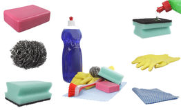 Cleaning product collage Stock Photos