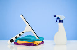 Cleaning product concept background with accessories Royalty Free Stock Images