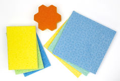 Cleaning product sponges from above Stock Image
