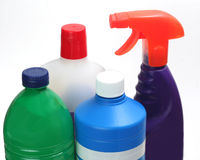 Cleaning products. Set of cleaning products for domestic use,  on white Stock Photo
