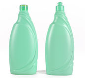 Cleaning products. Two green bottles isolated on white background Royalty Free Stock Photography
