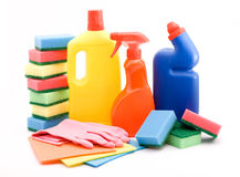 Cleaning products. Cleaning and sanitation products studio isolated Stock Photography