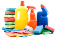 Cleaning products. Cleaning and sanitation products studio isolated Stock Photo
