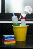 Cleaning products. Many cleaning products still life Stock Photos