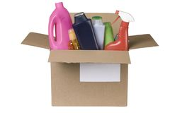 Cleaning products in cardboard box Stock Photo