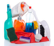 Cleaning  products with cleaning material Royalty Free Stock Photography