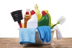 Cleaning products. To have your house clean stock photo