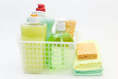 Cleaning products and detergents. Stock Photo