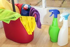 Cleaning products. In a dirty kitchen Royalty Free Stock Photography