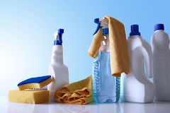Cleaning products and equipment on table overview Royalty Free Stock Images
