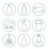 Cleaning products flat icon vector set. Stock Images
