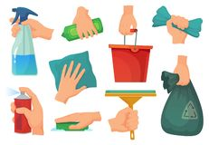 Cleaning products in hands. Hand hold detergent, housework supplies and cleanup rag cartoon vector illustration set stock illustration