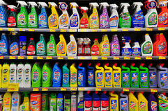 Cleaning products at supermarket. Assorted cleaning products on shelves at a supermarket in hong kong Stock Photos