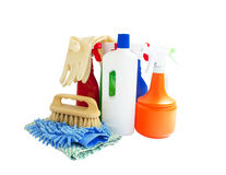 Cleaning products isolated on white Stock Images