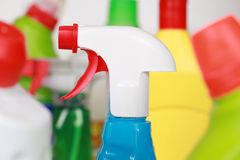 Cleaning products in plastic bottles Royalty Free Stock Photos