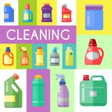 Cleaning products poster household bottle plastic liquid detergent product vector illustration. Cleaner disinfect. Equipment packaging. Cleanup care royalty free illustration