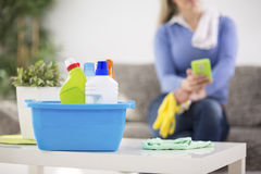 Cleaning products ready for cleaning. Housewife prepare cleaning products for cleaning house Stock Photo