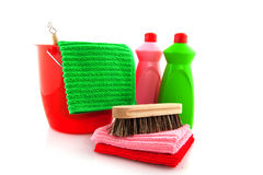 Cleaning products with red bucket Royalty Free Stock Photography