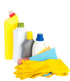 Cleaning products and rubber gloves Stock Photography