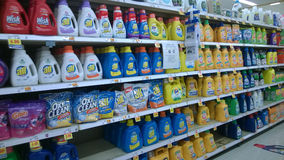 Cleaning products selling at supermarket Royalty Free Stock Photos